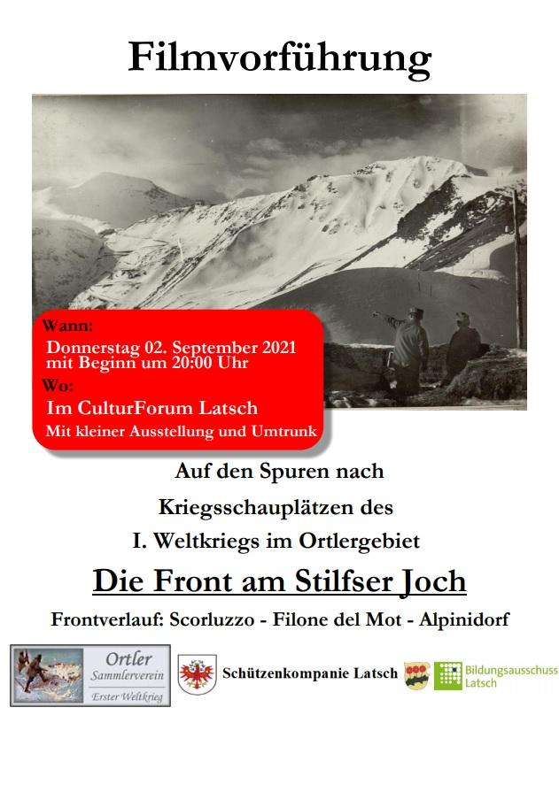 Einladung Filmvorführung am 02.09.2021 in Latsch